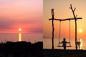 一邊盪鞦韆一邊欣賞醉人黃昏! 京丹後人氣夕陽景點夕日浦海岸
